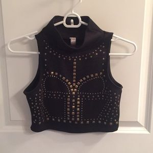 Crop top with gold studded detail